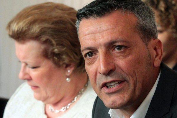 Edouard Martin et Catherine Trautmann présentent la liste socialiste du Grand Est pour les élections européennes, à Strasbourg, le 07 avril 2014.