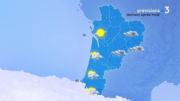 Soleil sur les départements côtiers, pluie et vent sur toute la région...