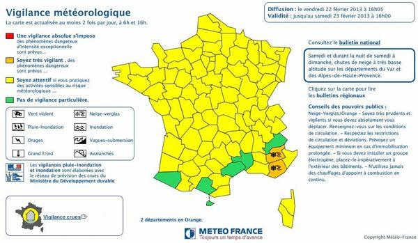 La carte de France diffusée par Météo France, vendredi en fin d'après-midi.