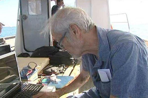 André Lorin, spécialiste en magnétométrie sous-marine, est venue inspecté les fonds au large de Dunkerque.