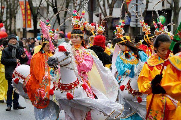 Le nouvel an chinois dans les rues du XIIIe arrondissement de Paris, en février 2017.