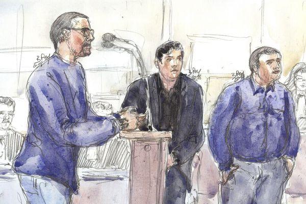 Les trois accusés croqués lors du premier jour du procès, le 4 septembre : (de gauche à droite) Samuel Dufour, Esteban Morillo et Alexandre Eyraud.
