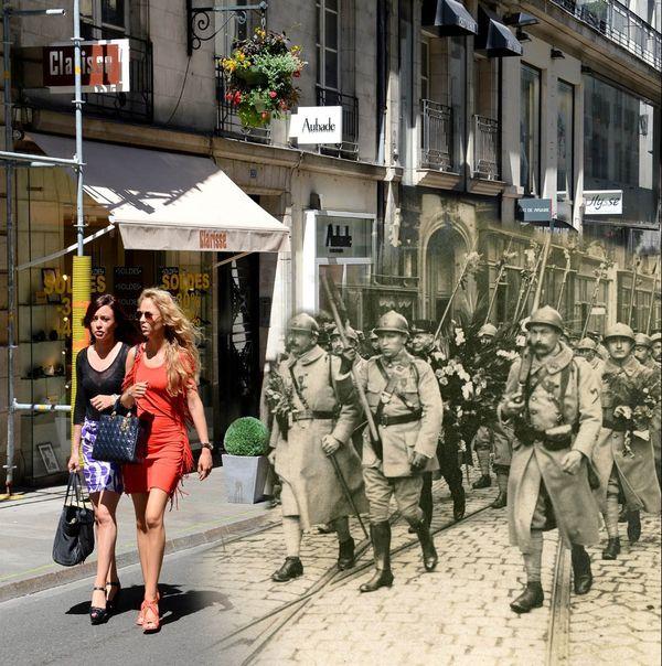 Rue Crébillon à Nantes, des poilus de 14-18 au milieu de passantes d'aujourd'hui