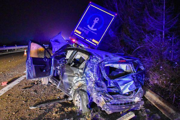 L'accident a eu lieu sur la D83, en fin de voie d'accélération.