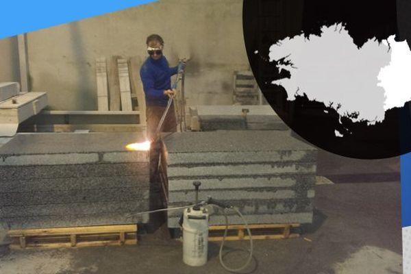 Le granit passé au chalumeau, à l'usine Générale du Granit, à Louvigné-du-Désert