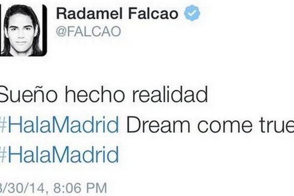 #Falcao tweete son départ pour le Real Madrid… puis retire aussitôt son message !
