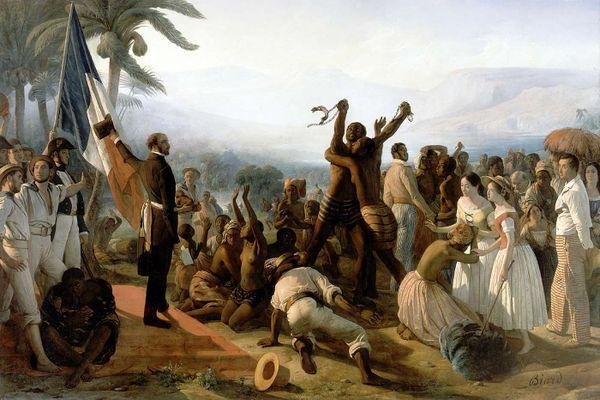 Un tableau de François-Auguste Biard sur l'abolition de l'esclavage, dont le texte Le testament du vent s'inspire.