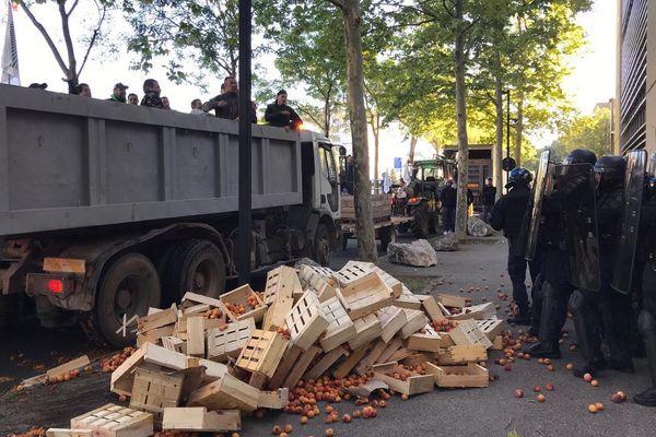 A Nîmes, les agriculteurs ont déversé des fruits pourris devant certaines administrations - 8 octobre 2019