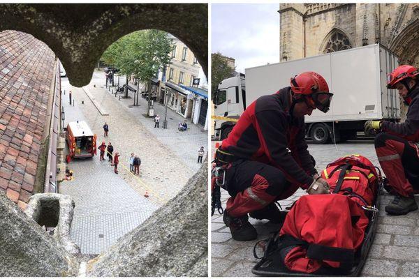 Les pompiers en exercice à la cathédrale de Quimper
