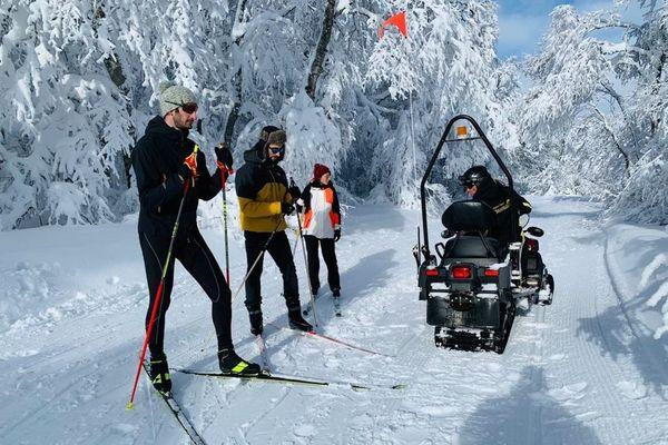 ski de fond dans la station de Brameloup dans l'Aveyron le 1er janvier 2021