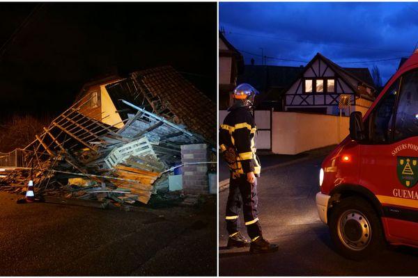 Les pompiers ont pratiqué près de 500 interventions. À Ingersheim (Haut-Rhin), une grange s'est effondrée.