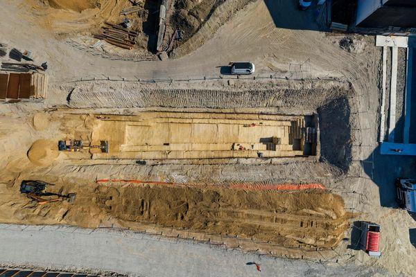 Le site fouillé par les archéologue de l'Inrap à Clichy-la-Garenne (Hauts-de-Seine).