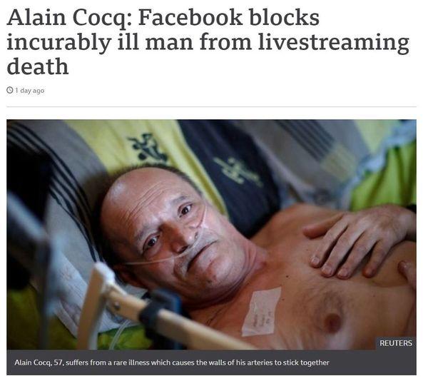 Alain Cocq : Facebook bloque un malade incurable de diffuser en live son agonie