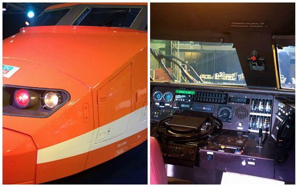 Une tête de TGV, amenée sur place depuis la Cité du Train, permet aux visiteurs de monter dans la cabine du conducteur.
