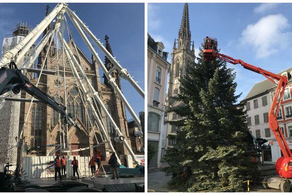 La grande roue se dresse sur le parvis du temple Saint-Etienne, le sapin s'habille en guirlandes, Place de la Victoire à Mulhouse pour le marché de noël.