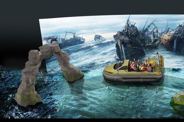 """Aperçu de """"Mission Bermudes"""", une attraction aquatique dont l'ouverture au public est prévue en 2024."""