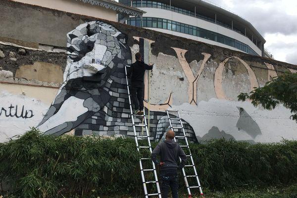 Le lion, fort et imposant, peint par le collectif de street-artistes ArtUp, est un hommage à la ville, réalisé sur un axe très fréquenté les soirs de matchs, devant le tramway en direction du Groupama Stadium.