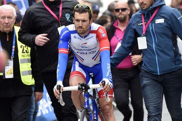 Le Breton Olivier Le Gac lors de sa victoire aux 6 jours de Dunkerque sour le maillot de Groupama - FDJ - 13/05/2018