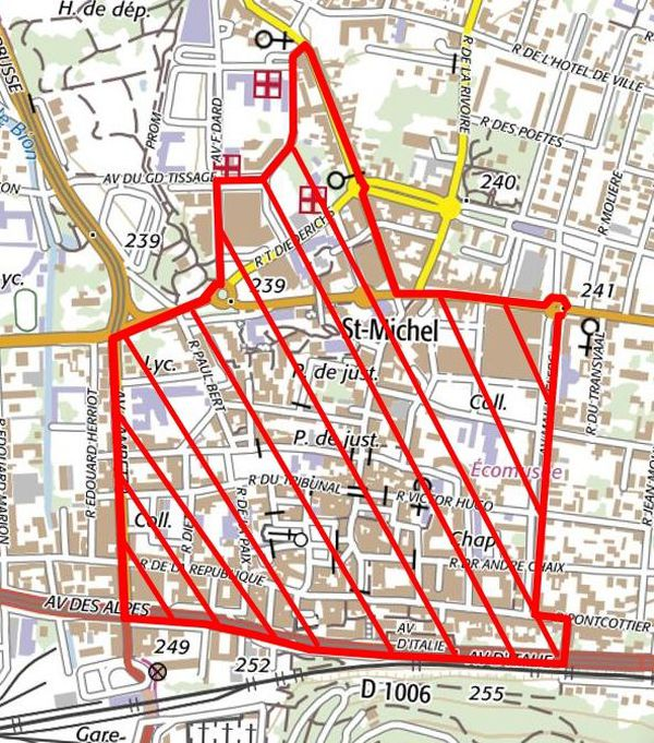 Voici la zone où le port du masque devient obligatoire à Bourgoin-Jallieu.