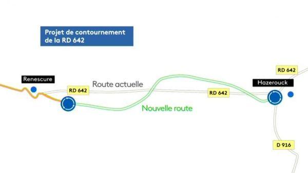 Le tracé imaginé pour le projet de contournement de la RD 642.