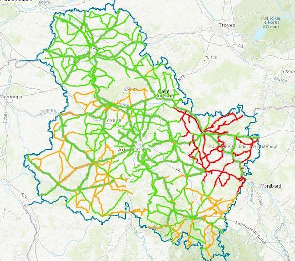 Conditions de circulation dans l'Yonne