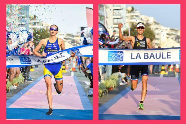 Les deux vainqueurs de l'édition 2019, Cassandre Beaugrand (Poissy) et Mario Mola (Saint-Jean-de-Monts) sur la ligne d'arrivée