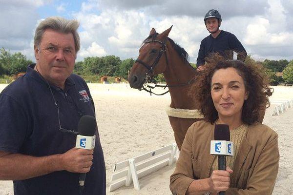 Corinne Bian Rosa avec Pierre Defrance, coach des deux médaillés d'or régionaux en équitation, l'invité du 12/13 du 10 août 2016