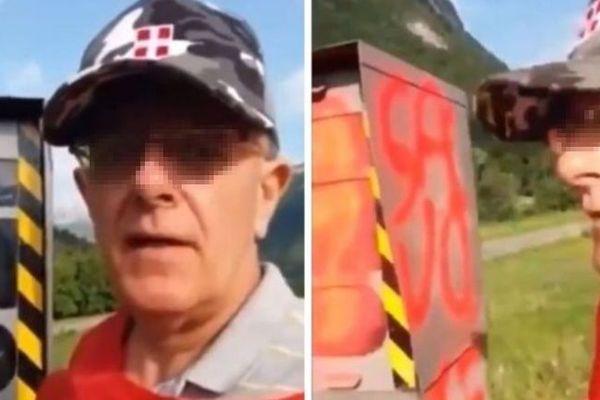 Le Savoisien s'était filmé en train de taguer un radar automatique à l'entrée de la commune d'Ugine en Savoie.