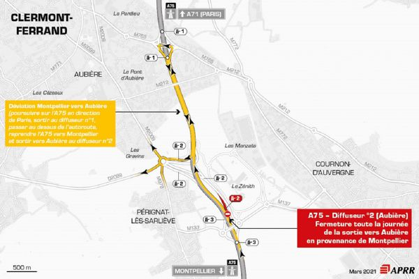 Le mardi 23 mars, près de Clermont-Ferrand, la circulation sera déviée sur l'autoroute A75.