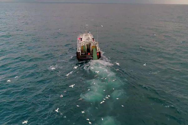 Un chalutier normand dans les eaux britanniques : les Français y effectuaient 30 % de leurs prises avant le Brexit