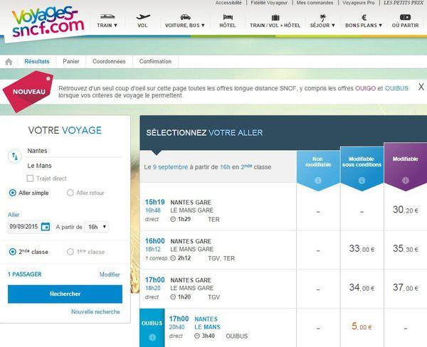 Copie d'écran du site Voyages SNCF avec une proposition de transport entre Nantes et Le Mans à la même heure au prix de 34 euros en train et de 5 euros en autocar
