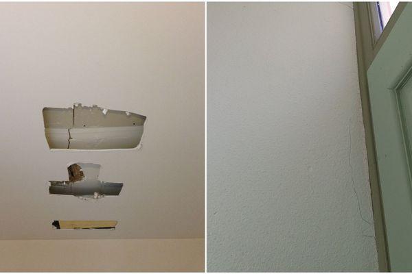 Les dégâts dans un appartement d'un immeuble de la rue Saint Hélier à Rennes, au plafond et des murs qui se lézardent.