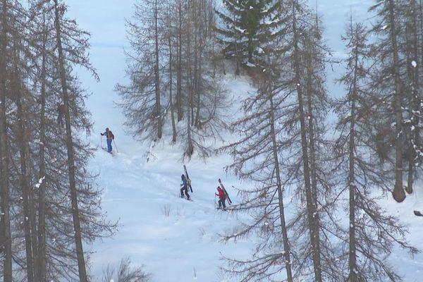 Ces skieurs grimpent dans la poudreuse, skis à l'épaule, pour pouvoir dévaler la piste une fois au sommet.