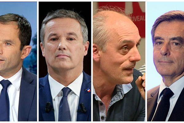 Benoït Hamon, Nicolas Dupont-Aignan, Philippe Poutou et François Fillon