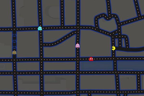 Pac-Man dans les rues du centre-ville de Rennes (quartier République)