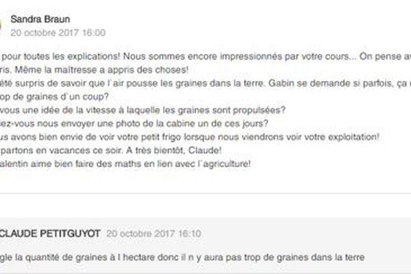 L'un des messages envoyés par la classe à Claude.