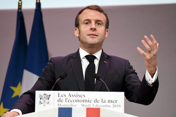 Emmanuel Macron ouvre la 15e édition des Assises de l'économie de la mer, le 3 décembre 2019 à Montpellier (Hérault).