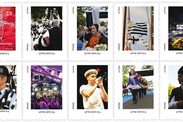 Les 10 timbres de la poste en l'honneur du festival interceltique