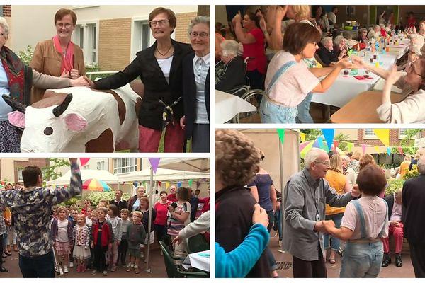 Seniors et enfants ont célébré la fête des voisins ensemble.