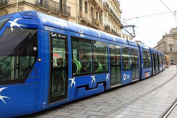 La ligne 1 du tram de Montpellier sur la place de la Comédie - 2016.