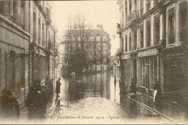 Le secteur du square Saint-Amour à Besançon sous les eaux en janvier 1910
