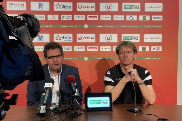 Réginald Ray, présenté à la presse le lundi 2 mars 2020, à ses côtés Thierry Gomez, le président du Mans FC