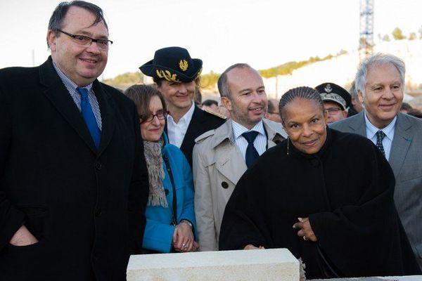 La Garde des Sceaux, Christiane Taubira, pose la première pierre de la prison Baumettes 2