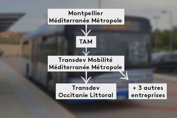 Le schéma de la délégation de service public issue de la métropole de Montpellier.