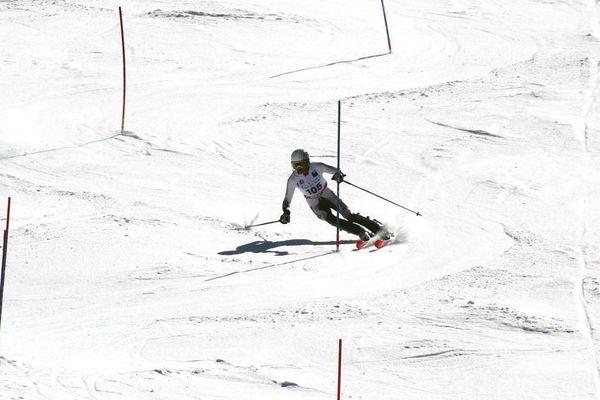 Un compétiteur lors du 68e Challenge des moniteurs à l'Alpe-d'Huez en 2018.