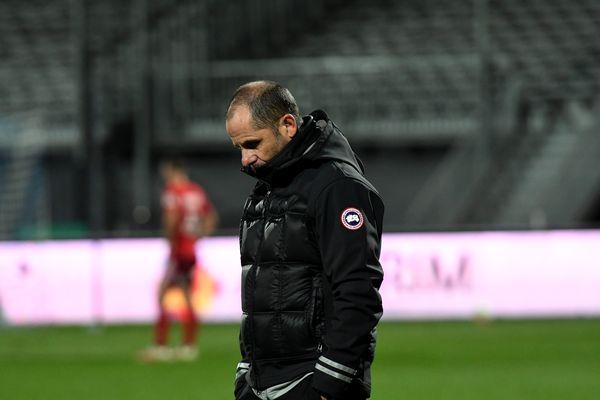 L'entraîneur Jean-André Ottaviani lors de la défaite 1-0 face à Bourg-en-Bresse, le 5 mars dernier.