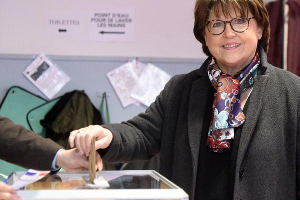 Martine Aubry, le 15 mars 2020 lors du 1er tour des élections municipales