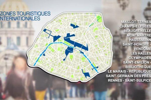 """Il ne reste désormais plus que 11 """"zones internationales touristiques"""" car le tribunal administratif de Paris a annulé l'arrêté créant la zone touristique internationale d'Olympiade (13e) le 13 février 2018."""