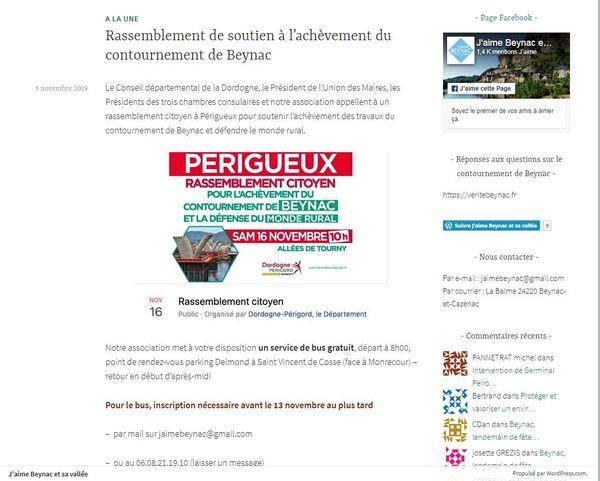 """Sur le site de l'association """" J'aime Beynac et sa Vallée"""""""