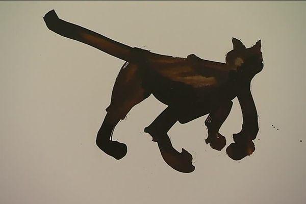 Un chat brossé en quelques coups de pinceaux par Daniel Juré.